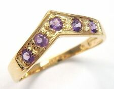 SIZE 7 PRETTY 10KT YELLOW GOLD NEW NATURAL AMETHYST RING .4ct 1.12g