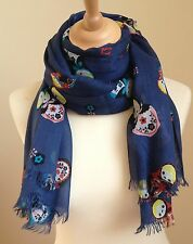 NEW WOMEN'S BLUE  RUSSIAN DOLL LARGER SIZE 100% COTTON PRINT SCARF