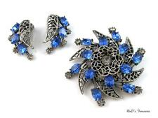 Vintage Signed KRAMER Blue Grey Rhinestone Floral Brooch & Clip On Earrings SET