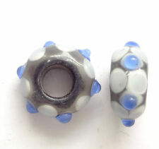 4 LAMPWORK 14X8MM GLASS BEADS 5mm HOLE - BLUE - D054