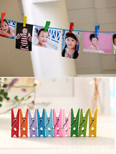 50Pcs Cute Mixed Candy Color Wood Lined Clothes Clip Pins Wooden Photo Clips