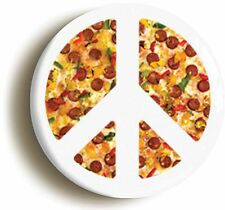 PIZZA PEACE SYMBOL BADGE BUTTON PIN (Size is 1inch/25mm diameter)