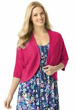 Rib-trimmed Pink Raspberry Open Front Cardigan Shrug Sweater Womens Plus Size 3X