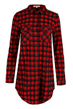 Womens Check Shirt Ladies Striped Tartan Lumberjack Collar Top Long Length