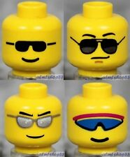 LEGO - 4x Male Heads Lot - Yellow Black Silver Blue Sunglasses Faces