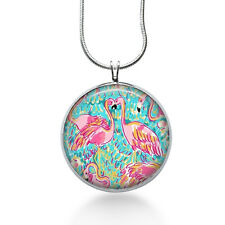 Flamingo Necklace, Lilly Pulitzer fabric-Silver Plated Cabochon, Dainty jewelry