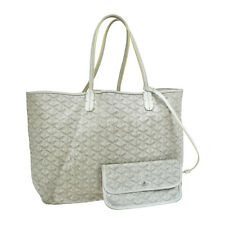 Authentic GOYARD Saint Louis PM Shoulder Tote Bag White PVC Leather VTG V07903
