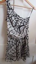 GORGEOUS **TOPSHOP** BLACK & WHITE STRIPED ONE SHOULDER PARTY DRESS SIZE 8