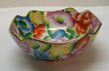 Chinese Rice or Soup Bowl with Colorful Flowers Gold Accents Vintage