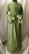 Vintage 60s Boho Hippie Dress Lace Empire Waist Holiday Gown