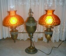 VINTAGE DOUBLE STUDENT LAMP BRADLEY AND HUBBARD OIL CONVERTED TO ELECTRIC RARE