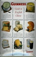 GUINNESS GUIDE TO  ENGLISH CHEESES: EMBOSSED 3D METAL  SIGN 30X20 CM, IRISH BAR