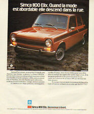Publicité Advertising 1975  SIMCA 1100  Elix