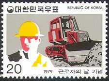 Korea 1979 Labour Day/Bulldozer/Tractor/Motors/Construction Worker 1v (n23956)