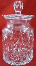 Vintage ORNATE CARVED GLASS JAR Removable Lid Glassware Sunburst Pattern Neck