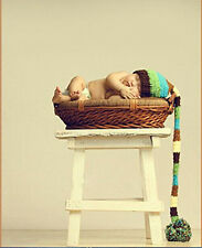 Newborn Baby Handmade Crochet Knit Long Tail Big Ball Hat Photography Photo Prop