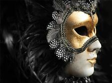 VENETIAN MASK BALL MASQUERADE GOLD BLACK PHOTO ART PRINT POSTER PICTURE BMP533A