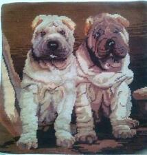 "NeedlePoint Sharpee Dog twins Pillow Sham 16"" Square"