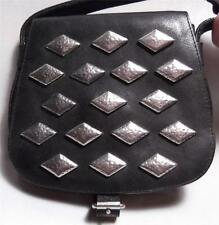 JIL SANDER x SERGIO PALOMBA BLACK LEATHER AND SILVER HANDBAG CROSSBODY