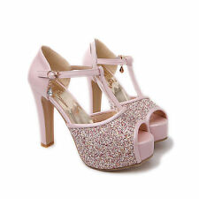 Mary Jane Lady T Strap OL High Heels Peep Toe Platform Sandal Wedding Pumps Shoe