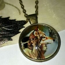 Native Tribal Indian with Wolf Bronze Pendant Necklace Jewellery, Christmas Gift