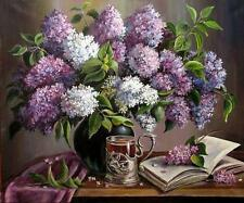 Chart Needlework Crafts DIY Counted Cross Stitch Pattern PDF Tea with Lilacs