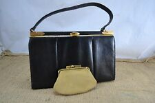 VINTAGE MAPPIN & WEBB BLACK LIZARD SKIN HANDBAG 1950s leather bag with purse