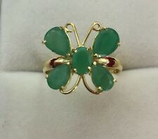 14k Solid Yellow Gold Butterfly Ring with Natural Emerald 2.52GM/Size 7.75