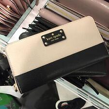 NWT Kate Spade WLRU1153 Wellesley Neda Zip Around Leather Wallet Black/pebble