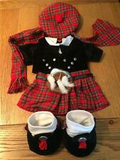BUILD A BEAR FACTORY RARE & HTF SCOTTISH HIGHLANDER OUTFIT INCL BERET & SCARF