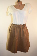 H&M Cream & Brown Scoop Neck Short Sleeve T-Shirt DRESS w/ Pockets Size Small S
