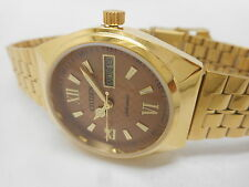 VINTAGE CITIZEN AUTOMATIC GOLD PLATED MENS DAY DATE BROWN DIAL WATCH RUN ORDER