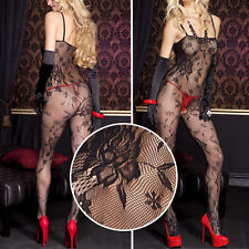 Black Floral Rose Lace Net Crotchless Bodystocking Bodysuit Pantyhose Lingerie