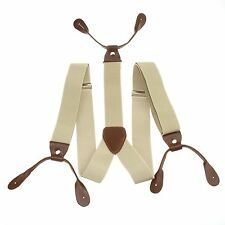 Fashional Men's Suspenders Braces Adjustable Leather Button Holes Beige BD701