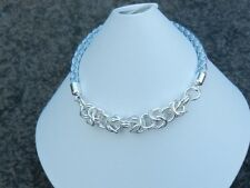 corded slider bracelet with 925 sterling silver byzantine chainmail