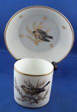 Antique Old Paris French Porcelain Bird Scenic Cup Saucer Vieux porcelaine de