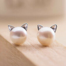 925 Sterling Silver - Korea Chic Pearl Cat Kitten Head Stud Party Club Earrings