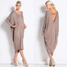Vintage Womens Summer Baggy Skirts Long Sleeve Celeb Casual Cocktail Dresses