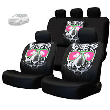 NEW BLACK FABRIC TIGER FACE LOGO FRONT AND REAR CAR SEAT COVERS SET FOR FORD