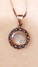 STERLING SILVER MOTHER OF PEARL MARCASITE ROUND PENDANT NECKLACE 24""