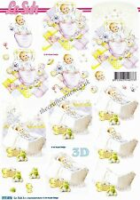 New Baby Boy & Girl With Toys 3D Decoupage Paper Craft Card Making CUTTING REQ