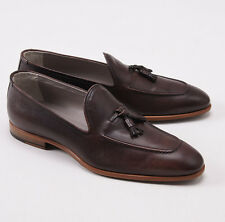 NIB $2850 KITON NAPOLI Grained Brown Leather Tassel Loafers US 9 D Shoes