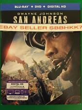 San Andreas BLU RAY + DVD + DIGITAL HD & SLIPCOVER BRAND NEW FREE SHIPPING!