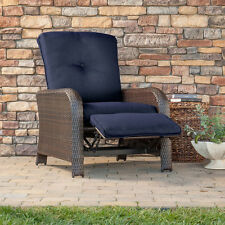 Blue Cushion Resin Wicker Outdoor Patio Recliner Chair Home Seating Furniture