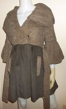 Size S RYU Antropology Coat Brown Velvet Wool Lined Warm Frock style Ruffled