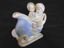 1994 Precious Moments Collectible  Christmas Holiday Ceramic Sled Tea Pot