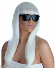 Largo recto Rubia Pop Star Diva Fancy Dress Costume Peluca Y Lentes Lady Gaga