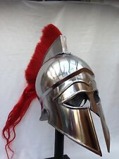 Greek Corinthian Helmet Ancient Armour Armor with Red plume and leather Liner