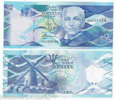 BARBADOS 2 DOLLAR UNC LATEST ISSUE BEAUTIFUL NOTE # 690
