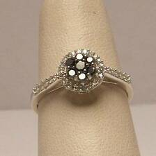 Black and White Diamond Halo Cluster Ring Set in 10K White Gold